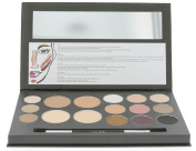 Cameo Cosmetics Eyes & Face Contouring Kit, Dark Colours - A 3 Palettes-In-One Makeup Kit With 16 Bestselling Shades - Step by Step Instructions Included