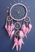 Dream catcher Medium size silver web light pink dreamcatcher