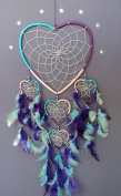 LARGE DREAM CATCHER PINK PURPLE TURQUOISE HEART DREAMCATCHER