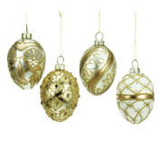 Set of 4 Gold Glass Egg Christmas Decorations