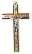 15cm Mahogany Wood Crucifix Cross Wall Hanging Wall Hanging Silver Jesus Diamond Cut Inlay 10581