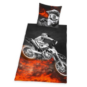 Herding 4859214050 Motocross Print Bed Linen Microfibre 135 x 200 cm Multi-Coloured