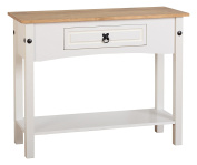 Seconique Corona 1 Drawer Console Table with Shelf - White/Distressed Waxed Pine