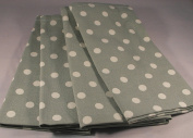 PACK OF 4 VINTAGE SAGE GREEN AND CREAM POLKA DOT COTTON TABLE NAPKINS *CATH KIDSTON STYLE*