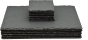 Argon Tableware Square / Rectangular Natural Slate Placemat Set - 6 Coasters & 6 Placemats