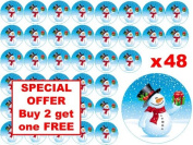 48 x 3cm Christmas Xmas Festive Blue Snowman Fairy Cup Cake Toppers Decoration Edible Rice Wafer Paper