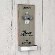 Wall Mounted Antique Grey Metal Bottle Opener for Beer Lovers in Distressed Grey Finish.