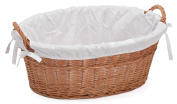 Prestige Wicker Lined Laundry Basket, Natural, 60 x 43 x 23 cm