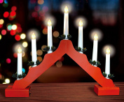 Christmas Red Wooden Candle Bridge With Warm White LED Lights - Battery Operated