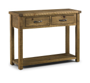 Julian Bowen Aspen Rough Sawn Console Table with 2 Drawers, Wood, Reclaimed Pine