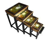 Chinese Oriental Furniture - Gold Leaf Nest of Tables with Glass and Floral Design