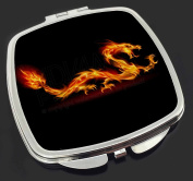 Stunning Fire Flame Dragon on Black Make-Up Compact Mirror Stocking Filler Gift