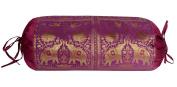 BLT00034 Designer Peacock & Elephant Work Silk Round Bolster Cushion For Bed 38 x 76 Cm