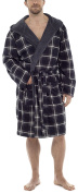 Wolf & Harte Mens Cheque Flannel Fleece Lined Dressing Gown