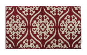 Y & K Decor Soft and Absorbent Non-Slip Bath Rug RED BEIGE