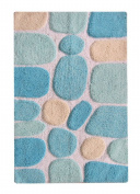 Chardin Home - 100% Pure Cotton Pebbles Bath Rug, Large, 27'' W x 45'' L, Turquoise – Easy Care Machine Wash