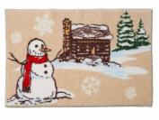 St Nicholas Square Cabin & Snowman Bath Rug 20x30 Skid Resistant Bath Mat