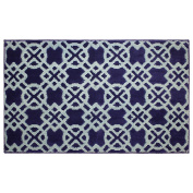 Jean Pierre Tazo 70cm X 120cm Textured printed Accent Rug, Navy/Mineral Blue
