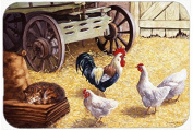 """Caroline's Treasures BDBA0339CMT """"Rooster and Hens Chickens in the Barn"""" Kitchen or Bath Mat, 20"""" H x 30"""" W, Multicolor"""