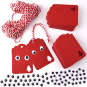 WXJ13 Christmas Gift Tags Kraft Paper Tags with 10 Metres Hemp Rope and 2 Sizes Self Adhesive Googly Eyes, 340 Pieces