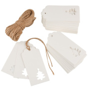Zealor 100 Pieces White Kraft Paper Gift Tags Hollow Christmas Tree Design with 20m Jute Twines for Wedding Favour Christmas