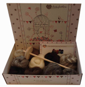 Heidifeathers Drop Spindle Spinning Kit - With Natural Wool