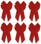 Holiday Trim 7366 11 Loop, Medium, Red Velvet Deluxe Christmas Bow - Quantity 6