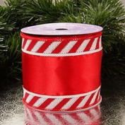 Krafty Klassics 1 Roll of Wide Candy Cane Border Wired Ribbon (10cm Width x 10 Yds)
