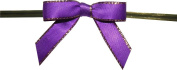 Small Purple Twist Tie Bows with Gold Edges- 250pc
