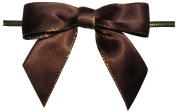 Large Brown with Gold Edge Twist Tie Bows- 100pc
