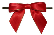 Large Red with Gold Edge Twist Tie Bows- 100pc
