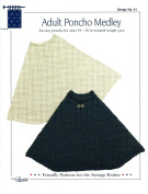 Design by Louise Knitting Pattern #41 Adult Poncho Medley 90cm - 130cm - 3 Designs