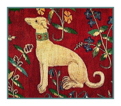 BOGO SALE-Mediaeval Whippet Dog Detail from Lady and the Unicorn Tapestries Counted Cross Stitch Pattern