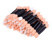 100 PCS 75mm Disposable Double Sided Sponge Tipped Cosmetic Makeup Eyeshadow Applicator Brush