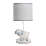 Happi By Dena Lambs & Ivy Little Llama Sheep Lamp with Shade & Bulb, Grey/Blue