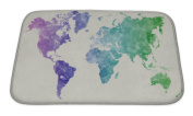 Gear New World Map In Watercolour Cool Bath Mat, Microfiber, Foam With Non Skid Backing, 60cm x 43cm , GN20778