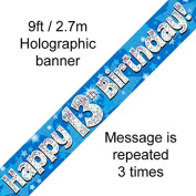 13th Birthday Blue Holographic Banner by Signature Balloons