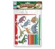 Kids Childrens Dinosaurs Stencil Set & Colouring Pencil Art Craft School Drawing by The Home Fusion Company
