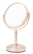 Danielle D640RG Midi 5X Magnification Vanity Mirror with Crystal Studded Stem, Rose Gold