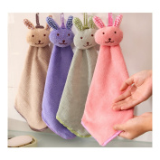 Union Tesco 4PCS Lovely Rabbit Hand Dry Towel Hanging Wipe Bathing Towel For Kitchen Bathroom Office