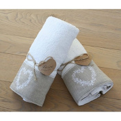 Blanc Mariclo - Towel set with heart white