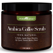Pure Original Organic Arabica Coffee - Scrub Best Cellulite, Acne, Stretch Marks, Wrinkles Treatment. With Dead Sea Salt, Olive Oil, Shea Butter. Natural Exfoliator, Moisturiser Promoting Radiant Skin
