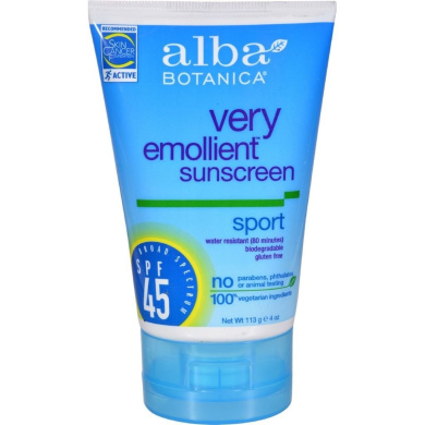 Alba Botanical Very Emollient Sunscreen Natural Protection Sport SPF 45 - 120ml