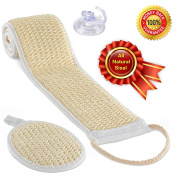 BERGMAN KELLY Sisal Back Scrubber and Pad, 2 Pack - Stronger Than Loofah