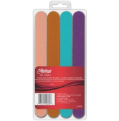 Le Salon Nail File Manicure Sanded Shaping Cuticle Cushioned Emery Boards, 4-Pack Assorted Colours