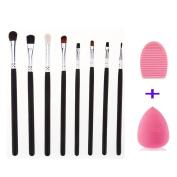 Makeup Eye Brush Set-Eyeshadow Eyeliner Blending-Crease Kit- 8 Essential Cosmetic Makeup Eye Brushes-Pencil, Shader, Tapered, Definer-Last Longer WIth Brush Cleaner and Sponge Blender by Sipaike