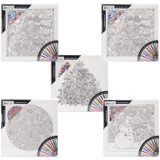 Adult Colouring 30cm x 30cm Black & White Canvas Assortment-Holiday