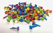 Tropical Coloured Assorted Tiny Round Brads 100ct