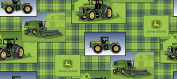 John Deere Plaid Patch Allover with John Deere Logo on a Green Plaid Background on 100% Cotton Fabric (Great for Quilting, Sewing, Craft Projects & More) 1/2 yard x 110cm