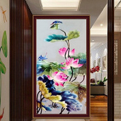 57x32cm 5D DIY Painting Lotus Flower Embroidery Stitch Craft Cross Stitching Home Decor